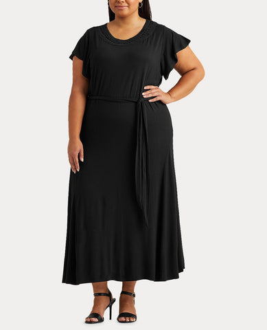 Woman Belted Jersey Dress In Black