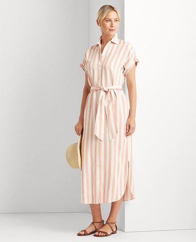 Striped Twill Shirtdress In Pink/White