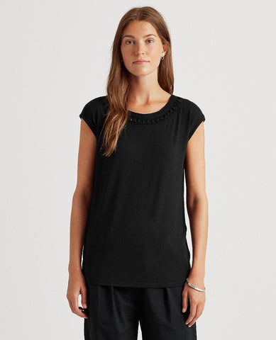 Petite Jersey Sleeveless Top In Black