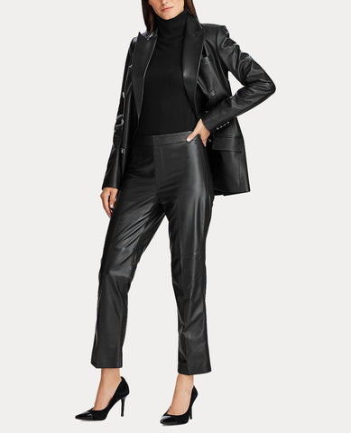 Straight-Leg Leather Pant In Black