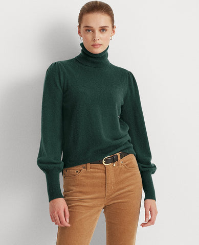 Washable Cashmere Turtleneck Sweater In Deep Pine