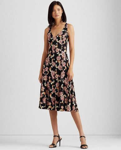 Floral Jersey-Linen Dress In Black Multi