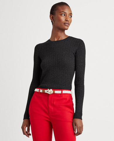 Metallic Cable Crewneck Sweater In Black Lurex