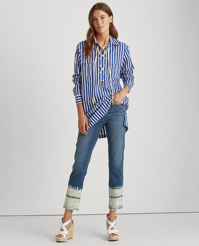 Striped Lace-Up Shirt In Blue/White