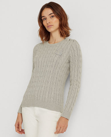 Button-Trim Cable-Knit Sweater In Grey Heather