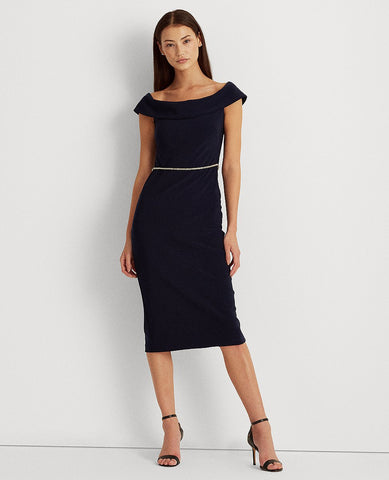 Jersey Off-The-Shoulder Dress In Navy