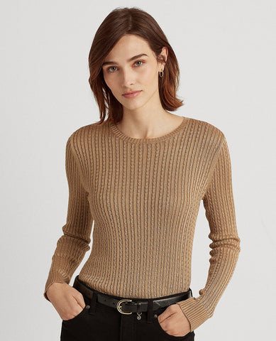 Cable-Knit Crewneck Sweater In Beige