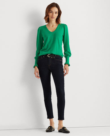 Buttoned-Cuff Long-Sleeve Sweater In Emerald