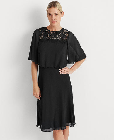 Georgette Fit-And-Flare Dress In Black