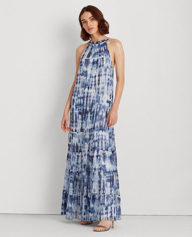 Tie-Dye Georgette Maxidress In Navy/Blue