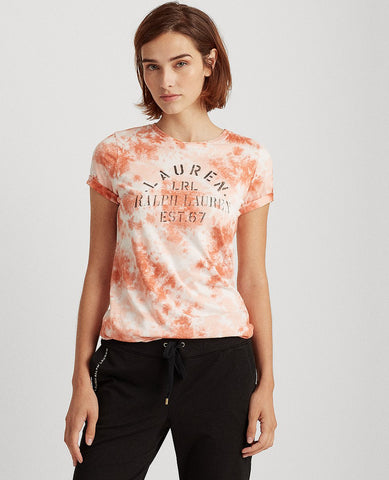 Petite Tie-Dye Cotton-Blend Tee In Pink Multi