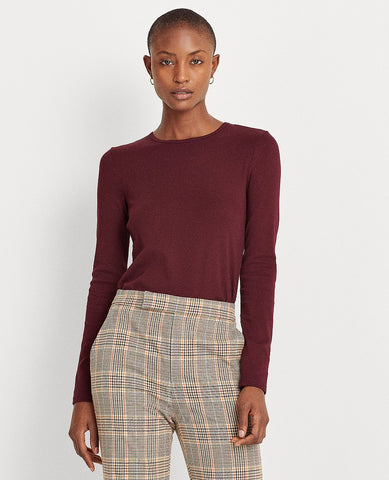 Petite Cotton Long-Sleeve Top In Pinot Noir
