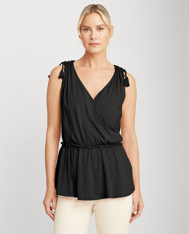 Cotton Jersey Sleeveless Top In Black