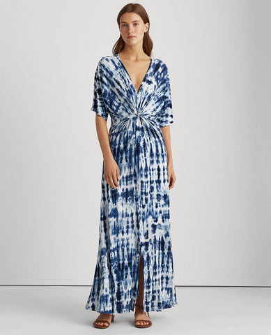 Tie-Dye Linen Dress In Blue Multi