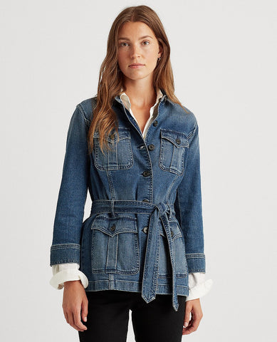 Petite Stretch Denim Jacket In Blue Wash