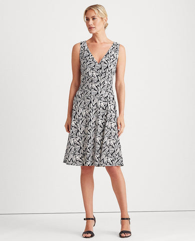 Petite Printed Jersey Dress In Navy/Cream