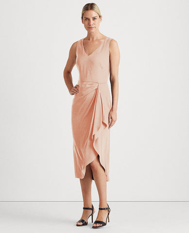 Georgette V-Neck Dress In Peach