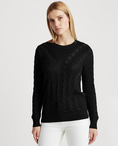 Cable-Knit Crewneck Sweater In Black