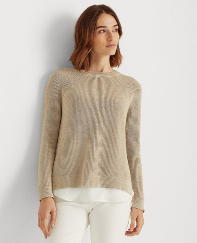 Layered Cable-Knit Sweater In Brown Heather