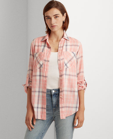 Plaid Cotton Twill Shirt In Red Multi