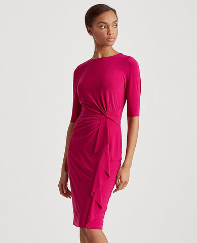 Twisted-Knot Jersey Dress In Bright Fuchsia