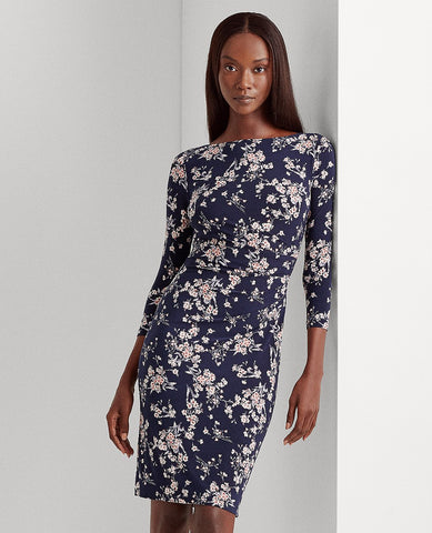 Petite Floral Ruched Jersey Dress In Lighthouse Navy/Blush/Multi