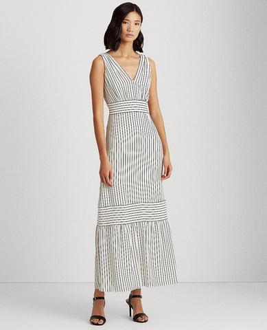 Striped Tiered Crepe Dress In Colonial Cream/Lighthouse Navy