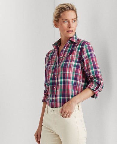 Plaid Cotton Twill Shirt In Pink Multi