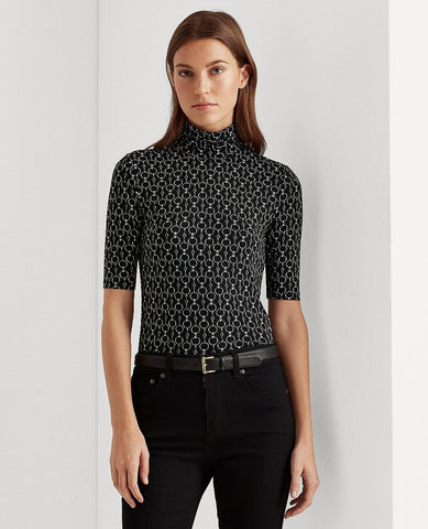 Print Jersey Turtleneck In Polo Black Multi