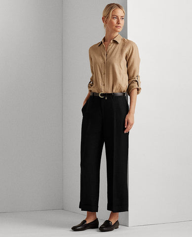 Linen-Blend Wide-Leg Pant In Polo Black
