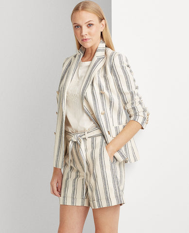 Petite Striped Linen Twill Blazer In Cream Multi