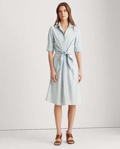 Petite Chambray Shirtdress In Vintage Chambray Wash