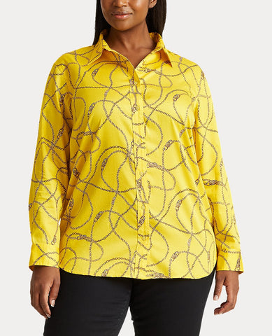 Woman Print Cotton-Sateen Shirt In Dandelion Fields Multi