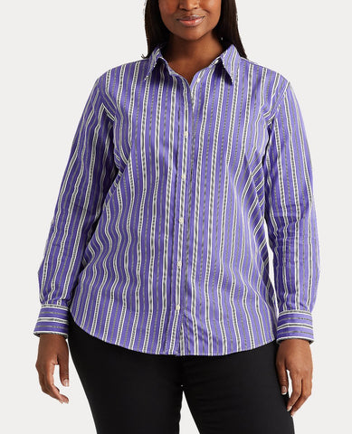 Woman Broadcloth Button-Down Shirt In Lavender Multi