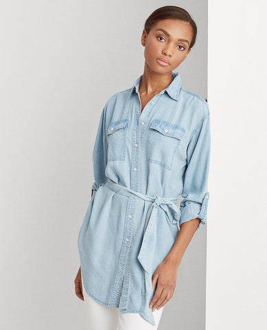 Belted Shirt In Pale Blue Wash