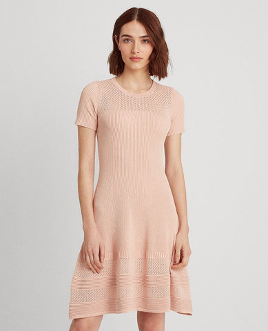 Linen-Blend Short-Sleeve Dress In Pink Hydrangea