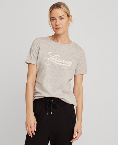 Logo Cotton Tee In Pearl Grey Heather