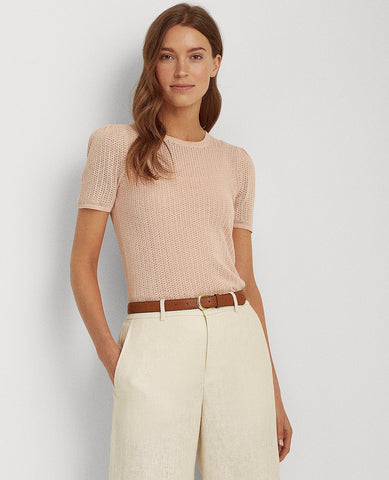 Pointelle Cotton-Blend Sweater In Pink Hydrangea
