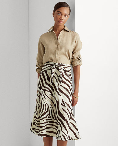 Linen A-Line Skirt In Dark Brown