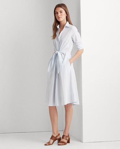 Striped Cotton Shirtdress In Blue/White