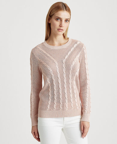 Cable-Knit Crewneck Sweater In Pink Hydrangea