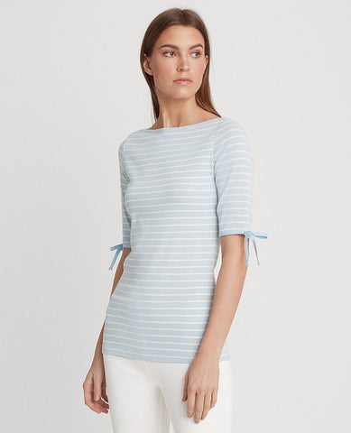 Striped Cotton-Blend Top In Soft Indigo/Mascarpone Cream