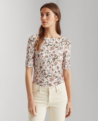 Floral Cotton-Blend Top In Pink Multi