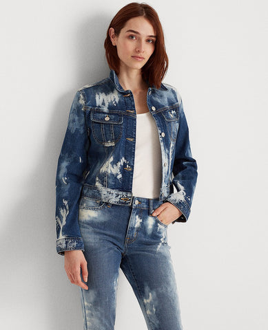Bleach-Dye Denim Jacket In Coastal Blue Wash