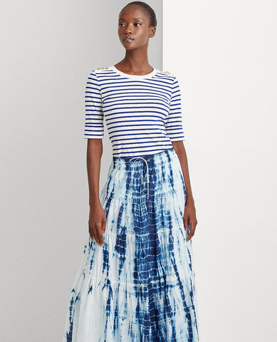 Tie-Dye Tiered Peasant Skirt In Blue Multi