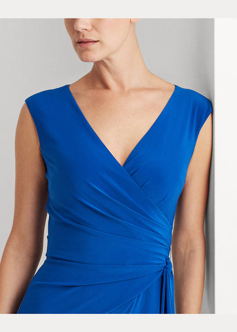Woman Jersey Wrap-Style Dress In Blue
