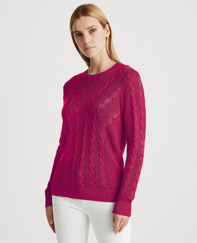 Cable-Knit Crewneck Sweater In Bright Fuchsia