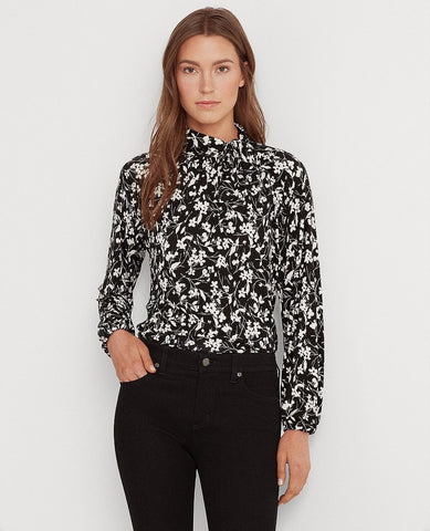Floral Stretch Jersey Top In Polo Black/Silk White