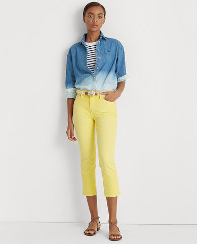 Premier Straight Cropped Jean In Pale Lemon Wash