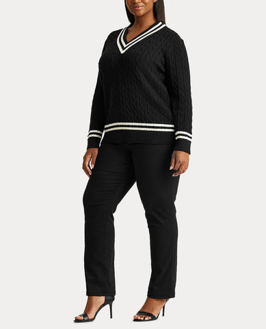 Woman Cotton Cricket Sweater In Polo Black/Marscapone Cream